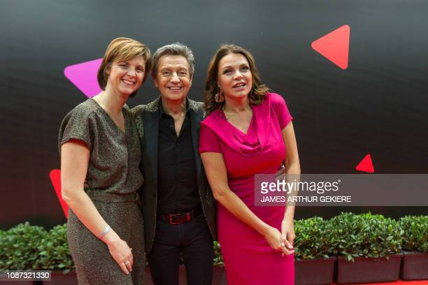 Cindy, the wife of Willy Sommers, singer and television presenter Willy Sommers and television presenter Goedele Liekens pictured on the red carpet,...
