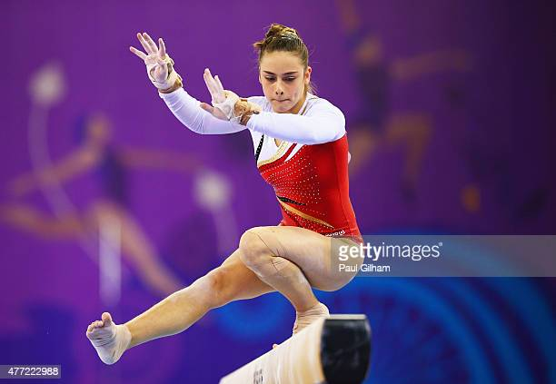 Cindy Vandenhole of Belgium competes on the beam in the Women's Team Final and Individual Qualification during day three of the Baku 2015 European...