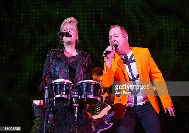 Cindy Wilson and Fred Schneider of The B52's performs onstage during the Julep Ball 2013 during the 139th Kentucky Derby at KFC YUM Center on May 3...
