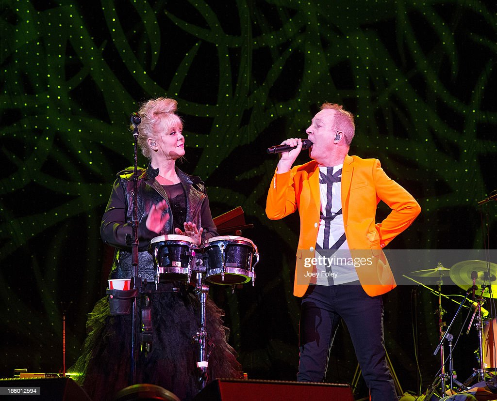 Cindy Wilson and Fred Schneider of The B-52's performs onstage during the Julep Ball 2013 during the 139th Kentucky Derby at KFC YUM! Center on May 3, 2013 in Louisville, Kentucky.