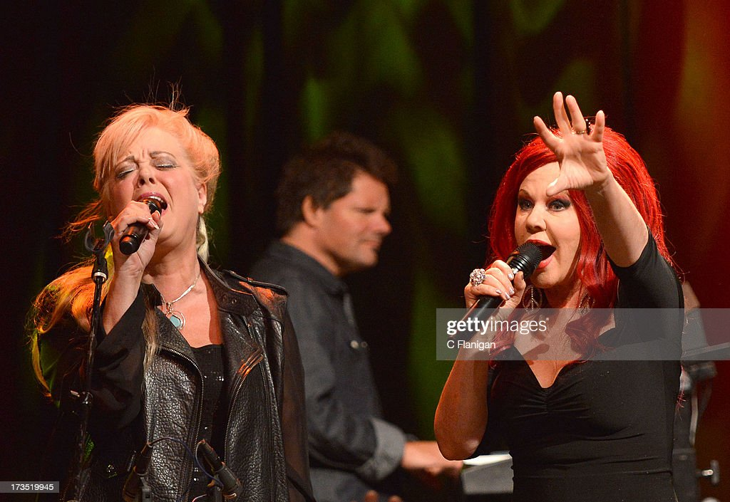 Cindy Wilson and Kate Pierson of The B-52's perform at The Fillmore on July 15, 2013 in San Francisco, California.