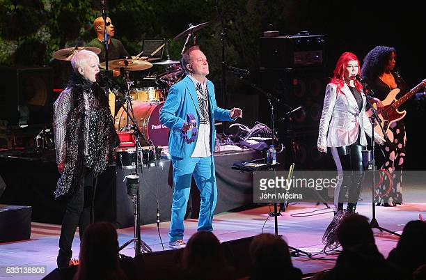 Cindy Wilson, Fred Schneider and Kate Pierson of The B-52's perform at The Mountain Winery on May 20, 2016 in Saratoga, California.
