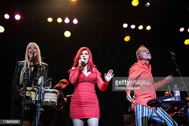 Cindy Wilson, Kate Pierson and Fred Schneider of The B-52's perform on stage at Indigo2 at O2 Arena on August 16, 2013 in London, England.