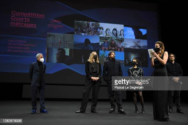 "Cinefondation jury members are seen on stage during the Best Short Film Palme D'Or Award Ceremony of the ""Special Cannes 2020 : Le Festival Revient..."