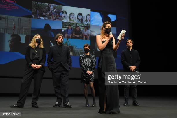 Cinefondation jury members Claire Burger, Damien Bonnard, Dea Kulumbegashvili, Celine Sallette and Charles Gillibert are seen on stage during the...