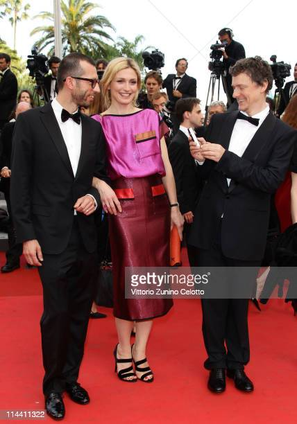 Cinefoundation Jury Members Joao Pedro Rodrigues Julie Gayet and Michel Gondry attend the The Skin I Live In premiere at the Palais des Festivals...
