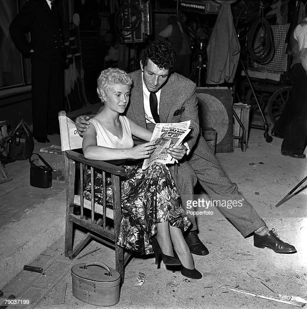 Cinema Actors Vera Day and Arthur Mason are pictured on the set of the film A Kid for Two Farthings