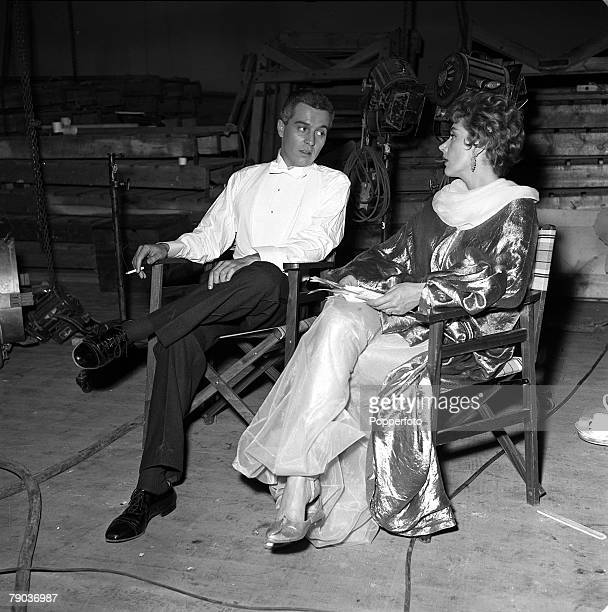 Cinema American actor Sidney Chaplin is pictured with British actress Kay Kendall on the set of the film 'Abdullah the Great'