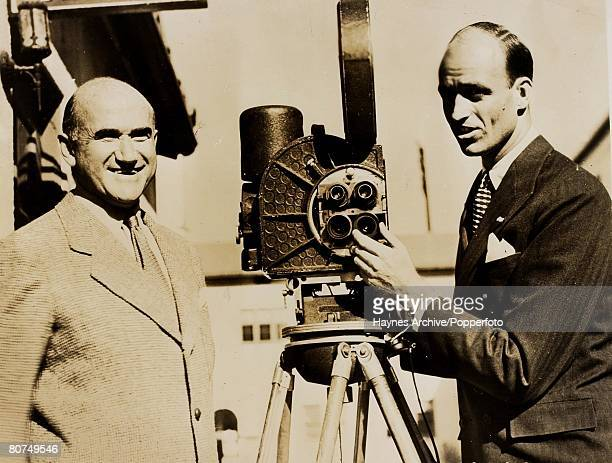 Cinema American film producer Samuel Goldwyn on left with James Roosevelt son of United States President Franklin Delano Roosevelt at a Hollywood...