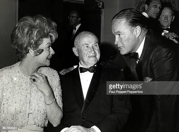 21st March 1966 Lucille Ball with Producer Samuel Goldwyn and actor Bob Hope right at the Beverly Hilton Hotel at a Screen Producer's Guild Milestone...