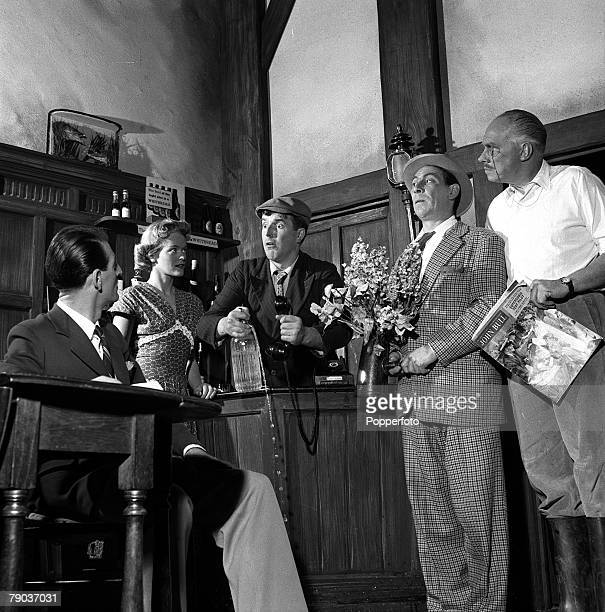Cinema England A scene from the film Dry Rot showing LR John Chapman Diana Calderwood Brian Rix John Slater and Charles Coleman