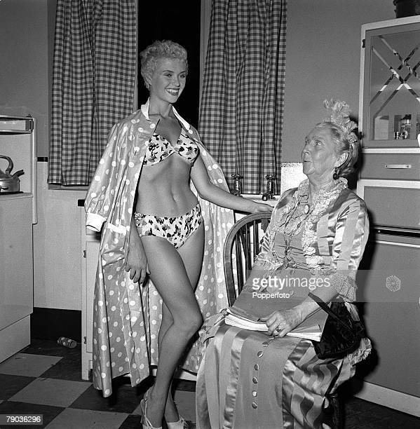 Cinema England British actresses Vera Day and Nancy Roberts are pictured during the shooting of the film It's a Great Day