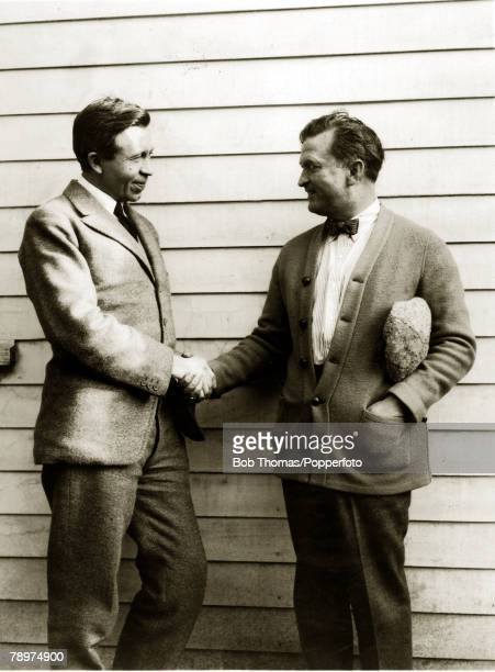 Cinema, Exploration, Personalities, pic: circa 1920, Canadian born Arctic explorer meets Thomas H,Ince veteran motion picture producer at the...
