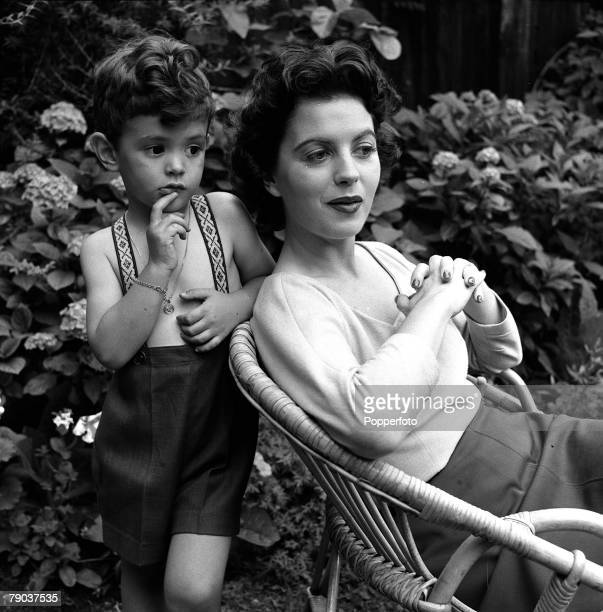 Cinema London England American actress Faith Domergue is pictured with her son John at her home in Chelsea