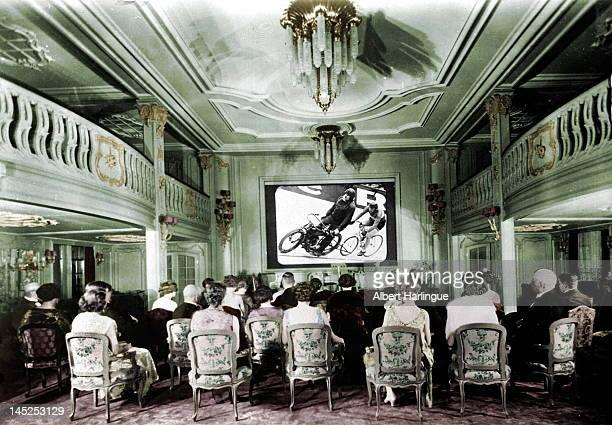 Cinema on a passenger ship about 1930 Colourized photo