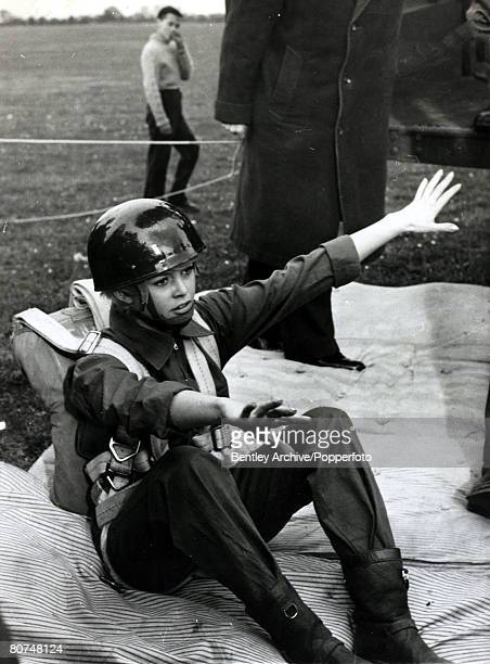 12th April 1959 French actress Brigitte Bardot training for a parachute jump in a role for her film 'Babette Goes To War' Brigitte Bardot first...