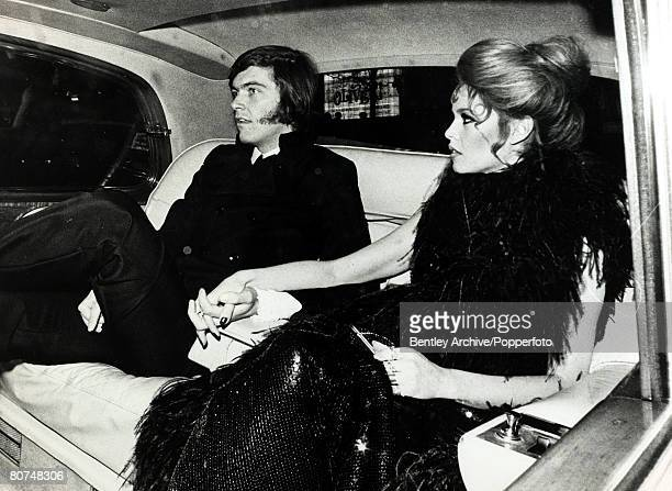 12th December 1968 French actress Brigitte Bardot arrives for the premiers of her film 'Shalako' with her boyfriend student Patrick Gilles Brigitte...