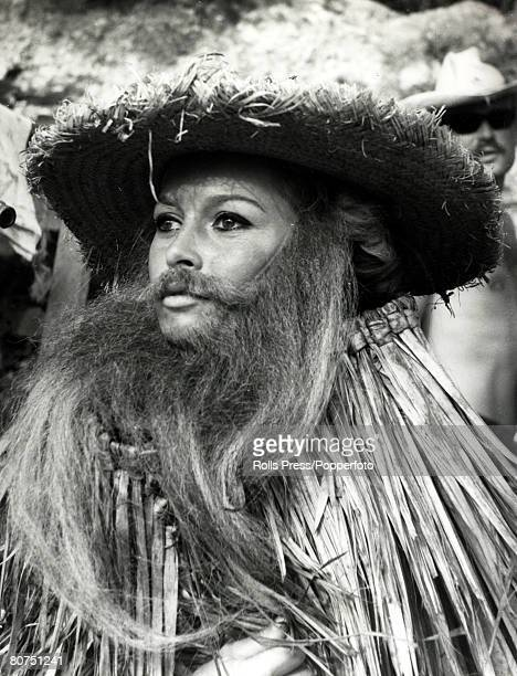 18th September 1965 French film actress Brigitte Bardot pictured disguised in beard and whiskers for a scene in the film 'Viva Maria' Brigitte Bardot...