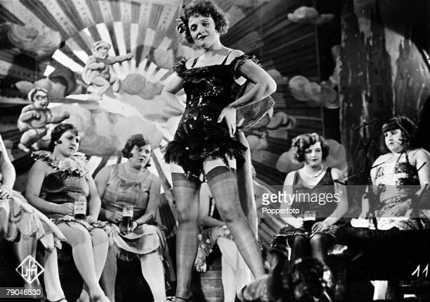 1930 German born American actress Marlene Dietrich is pictured in a scene from the film 'The Blue Angel playing the role of LolaLola and singing the...