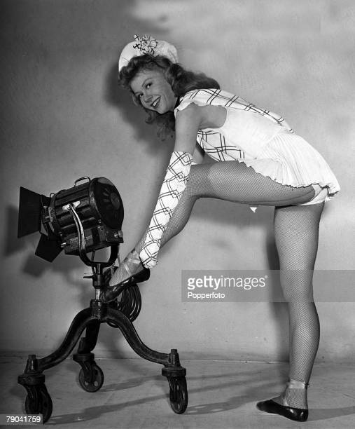 1950 American actress and dancer Vera Ellen is pictured on the set of the film Happy Go Lovely