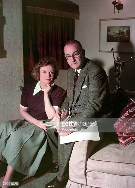 1950 British actress Anna Neagle is pictured at home with her husband Herbert Wilcox the film director who made her a star