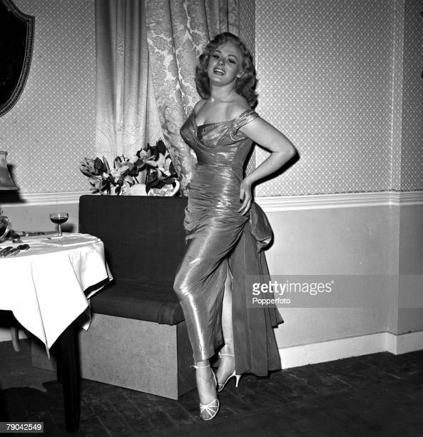 1955 British glamour pinup television celebrity and actress Sabrina pictured during the making of the film Stock Car