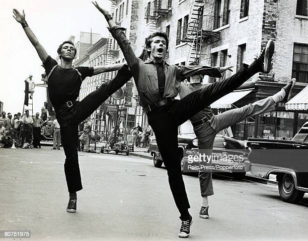 1961 American film actor George Chakiris centre leads a the dancers in a scene from the musical West Side Story in which he played the part of...
