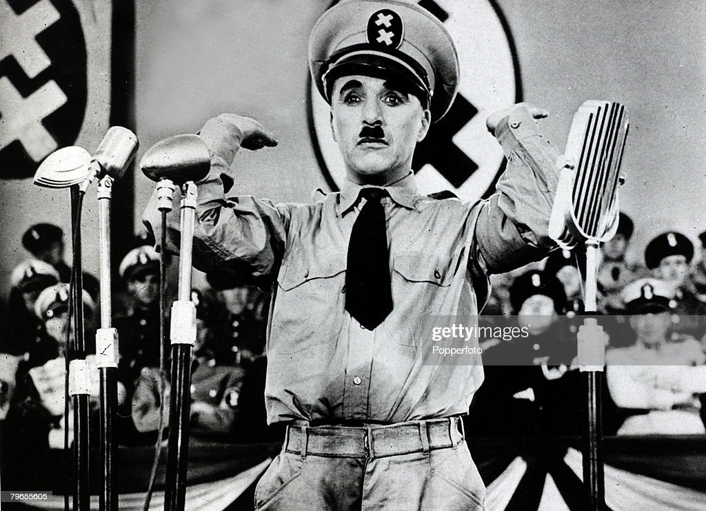 "Cinema Personalities, pic: 24th August 1940, Charlie Chaplin, the diminutive comedian pictured as the ""Great Dictator"" in the soon to be released film ""The Great Dictator"" : News Photo"
