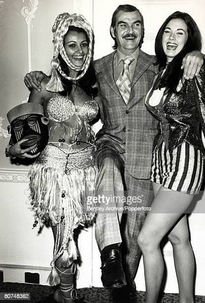 Cinema Personalities, pic: 25th November 1972, Welsh actor Stanley Baker, pictured with Miss World contestants in their national costumes, Miss...