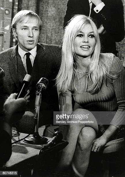 2nd September 1966 French film actress Brigitte Bardot pictured with British actor/singer Mike Sarne who she appears with in the film 'Two Weeks in...