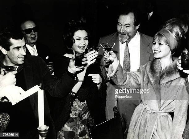 6th April 1962 French film actress Brigitte Bardot right pictured in Florence alongside James Roberson Justice Macha Meril and left Director Roger...