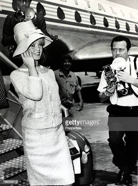 8th April 1961 French actress Brigitte Bardot arrives at Rome's Fiumicino Airport to work in Italy on the film ' Private Life' Brigitte Bardot first...