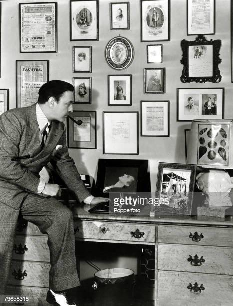 circa 1930 Jhn Barrymore pictured with some of his souvenirs American actor John Barrymore a major star of films in the 1920's and 1930's who had a...
