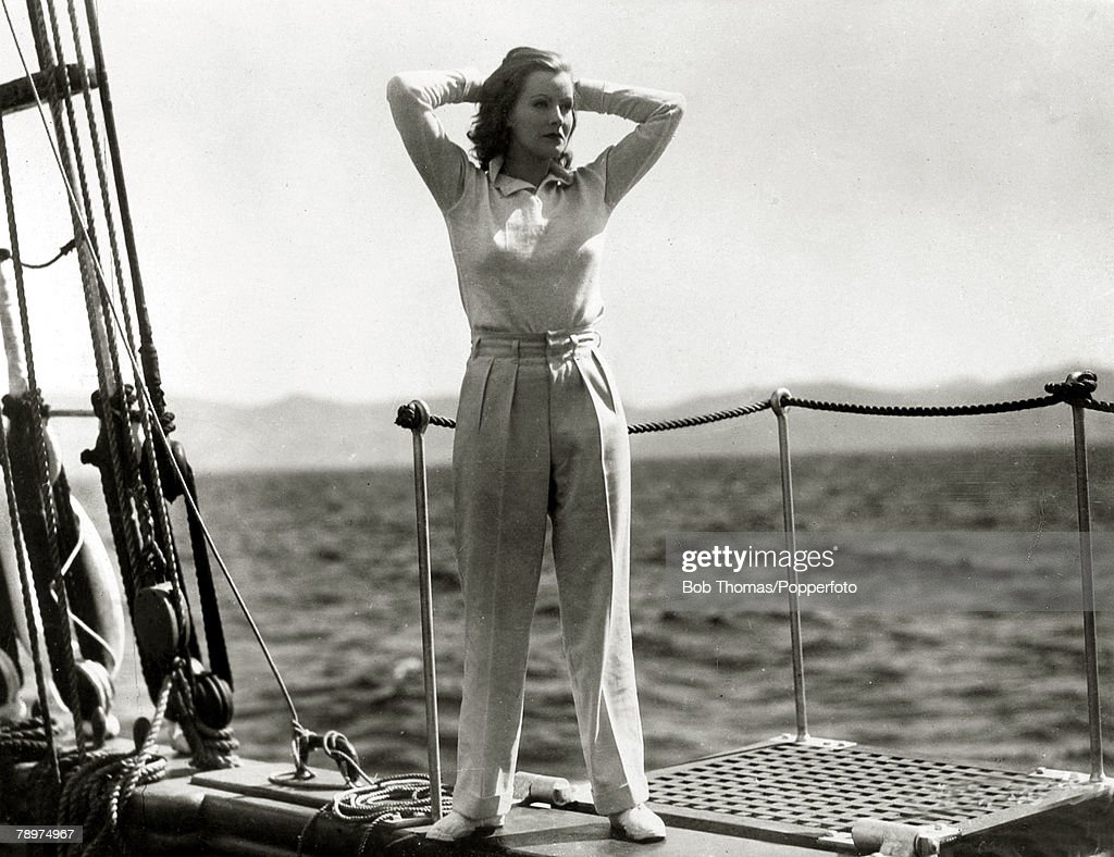 Cinema Personalities. pic: circa 1930's. American actress Greta Garbo, (1905-1990) enjoying the ocean's breeze while on location. She was born in Sweden and went to America in the 1920's and became a Hollywood star. She was especially popular in the 1930' : News Photo