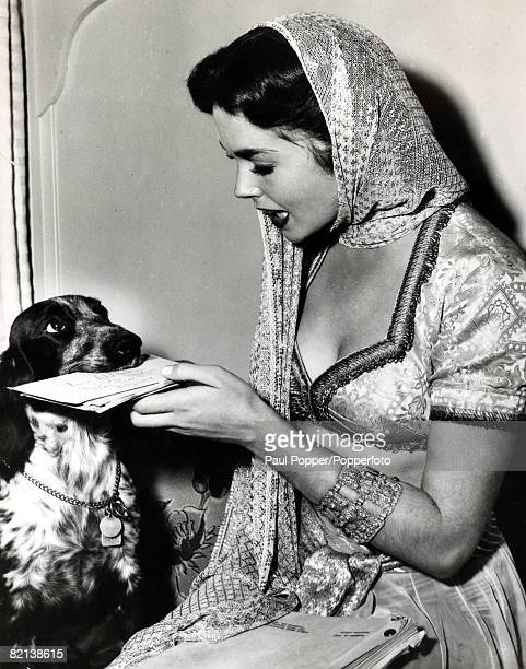 circa 1950's British actress Dawn Adams pictured in Hollywood where her pet dog has been trained to bring the morning mail to her on the set