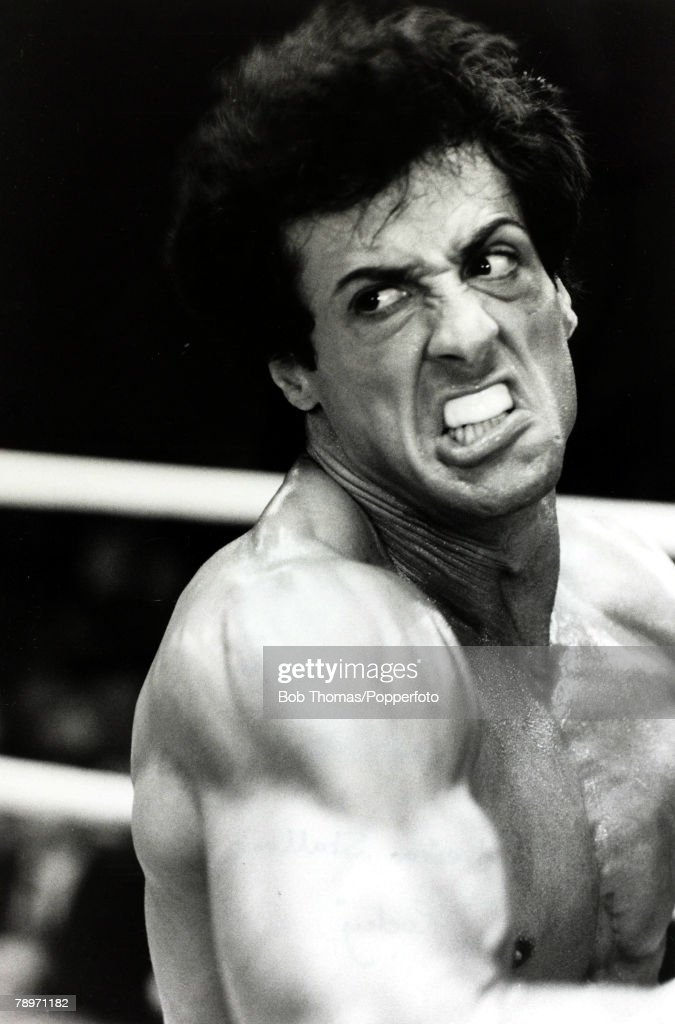 "Cinema Personalities. pic: circa 1976. American actor Sylvester Stallone, (born 1946) appearing as the boxer Rocky Balboa in the film ""Rocky"". Stallone made 5 ""Rocky"" film between 1976 and 1990. : News Photo"