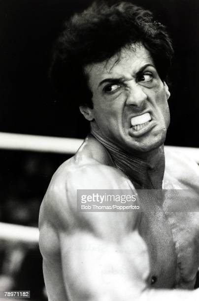 circa 1976 American actor Sylvester Stallone appearing as the boxer Rocky Balboa in the film 'Rocky' Stallone made 5 'Rocky' film between 1976 and...