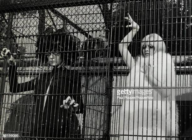 September1966 French film actress Brigitte Bardot rightpictured wearing arctic fox fur while shooting an unusual scene at London Zoo for the film...