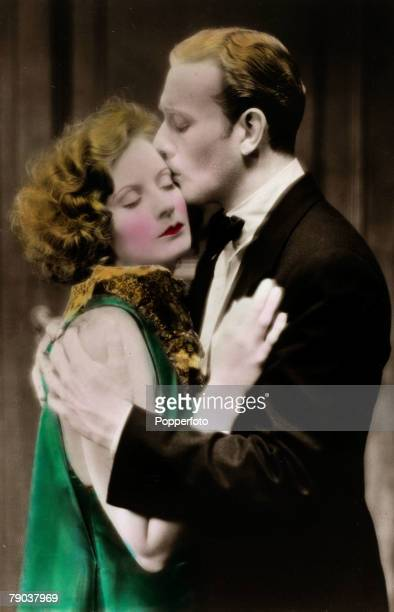 "Cinema, Personalities Swedish born film actress Greta Garbo, born Stockholm 1905, pictured in a love scene with actor Conrad Nagel in the film ""The..."