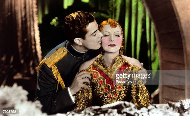"Cinema, Personalities Swedish born film actress Greta Garbo, born Stockholm 1905, pictured in the film ""Mata Hari"" with actor Ramon Novarro, She went..."