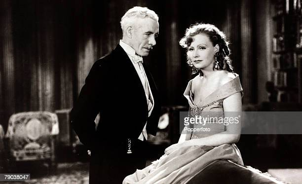 "Cinema, Personalities Swedish born film actress Greta Garbo, born Stockholm 1905, in a scene from the film ""Romance"" with actor Lewis Stone, She went..."