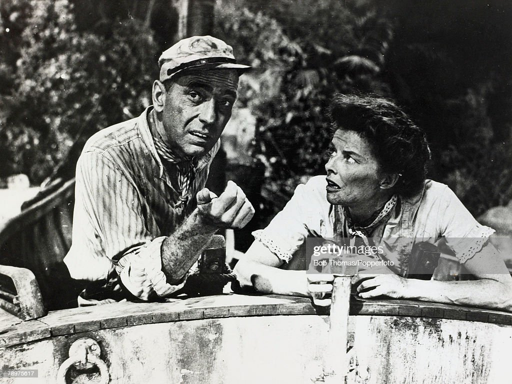 "Cinema Pesonalities. pic:1951. American actress Katharine Hepburn playing alongside Humphrey Bogart in the classic film ""The African Queen"". Katharine Hepburn, (1907-2003) was one of the cinema's legends and in a long film career won an unparalleled 4 Bes : News Photo"
