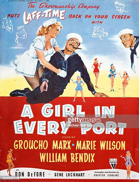 Cinema poster for the 1952 RKO comedy movie 'A Girl in Every Port' starring Groucho Marx Marie Wilson and William Bendix The poster is also dated 1952