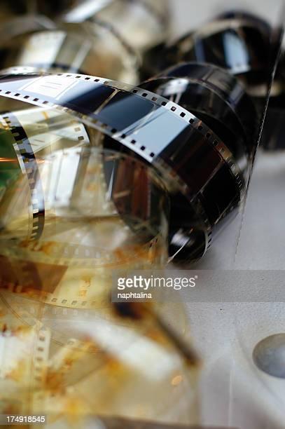 Cinema reels on grey background