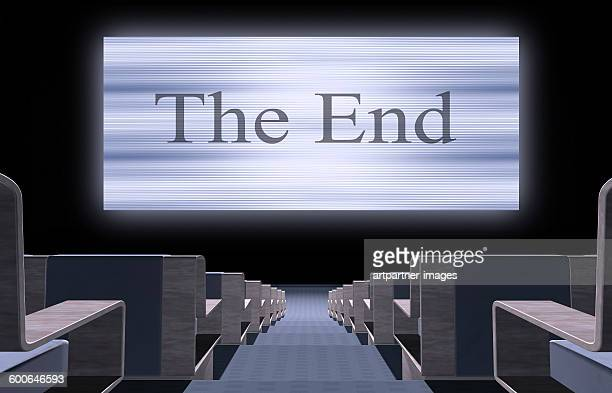 Cinema screen with the words the end