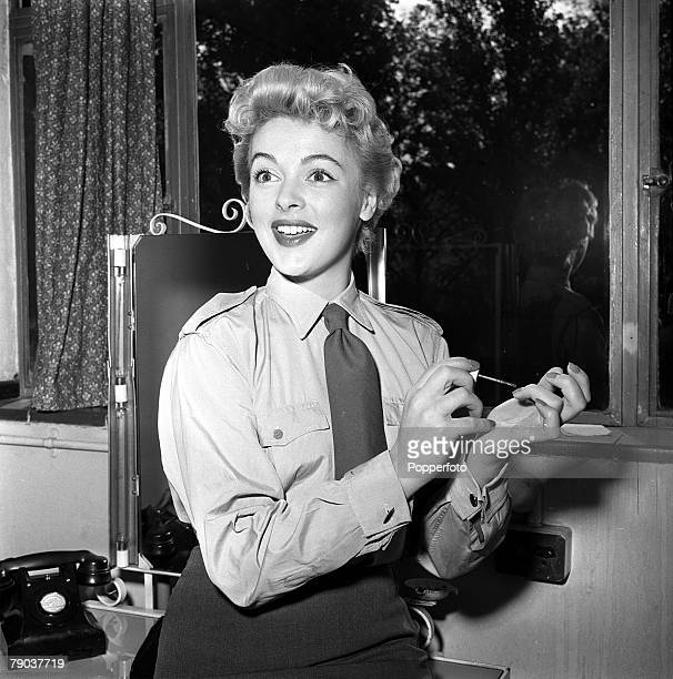 Cinema Shepperton England British actress Jill Adams is pictured on the set of the film 'Private's Progress'