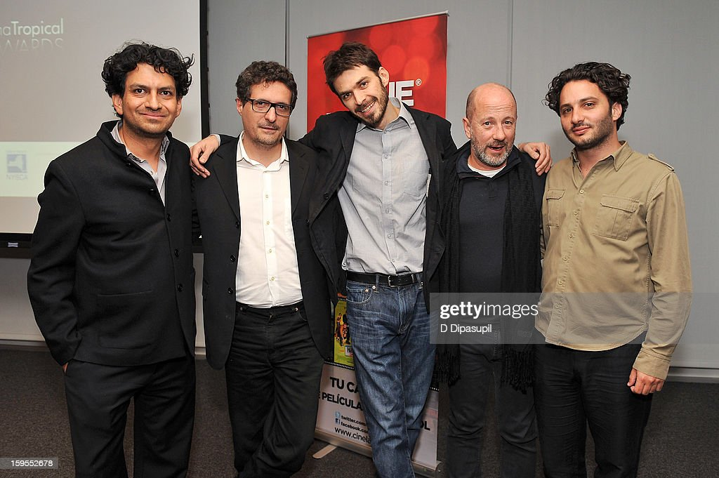 Cinema Tropical co-founder Carlos A. Gutierrez, and film directors Kleber Mendonca, Matias Meyer, Jose Alvarez, and Gaston Solnicki attend the 3rd annual Cinema Tropical awards at The New York Times Headquarters on January 15, 2013 in New York City.
