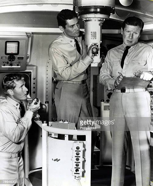 circa 1964 American actor Richard Basehart right pictured making the TV series Voyage To The Bottom Of The Sea with Bob Dowdell and David Hedison
