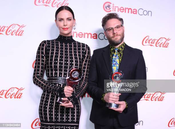 CinemaCon Comedy Stars of the Year Award for Long Shot corecipients actress Charlize Theron and actor Seth Rogen arrive for the 2019 Big Screen...