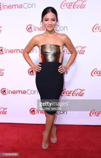 CinemaCon Ensemble Award corecipient for Terminator Dark Fate actress Natalia Reyes arrives for the 2019 Big Screen Achievement Awards at the Omia...
